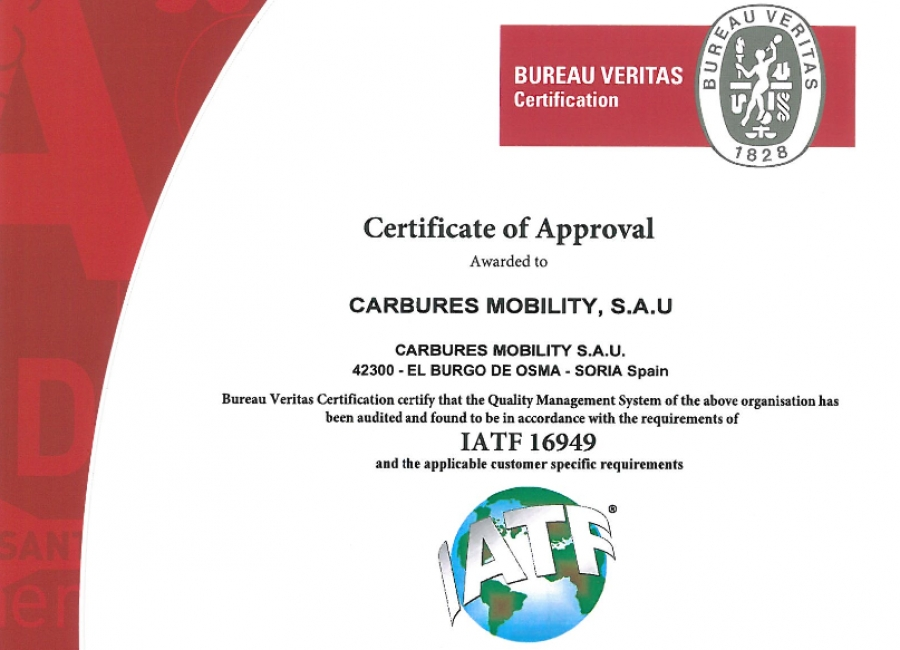 Carbures receives the IATF Automotive Certification in El Burgo de Osma